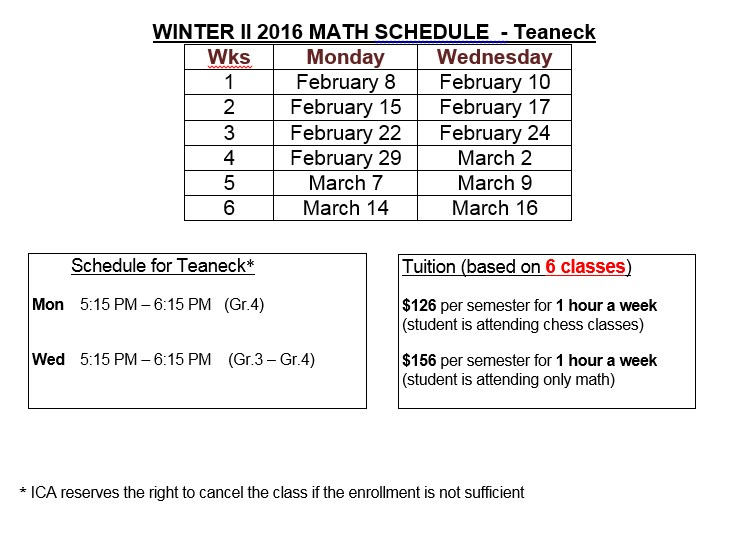 ICA Chess academy in NJ :WINTER II 2016 MATH SCHEDULE - Teaneck
