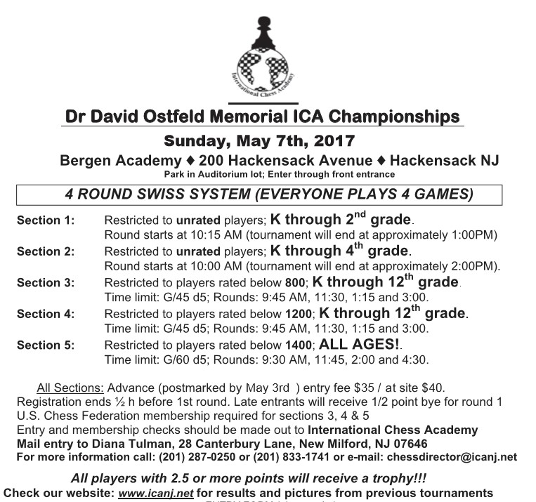 ICA Chess academy in NJ :2017 Dr David Ostfeld Memorial ICA Championships (sections 1-5)